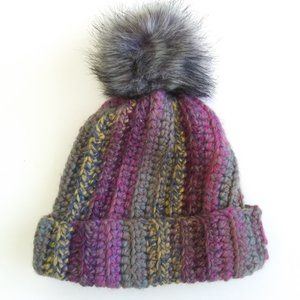Chunky Knit Wool Multicolor Beanie With Pompom